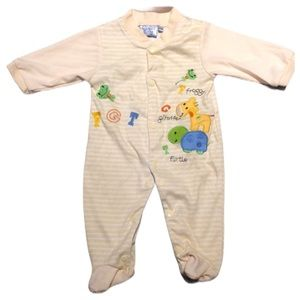 Other - 5/$25 🔴 Baby Yellow Stripe Animals Footed …
